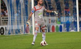 Strasbourg, le 29 août 2015. - Alexandre Oukidja, le portier du Racing, lors du match de National face aux Herbiers (2-2).