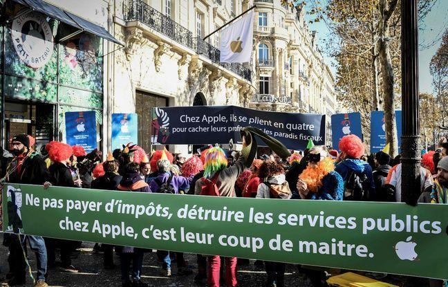 VIDEO. Manifestation contre le nouvel Apple store des Champs-Elysées, «symbole d'évasion fiscale»