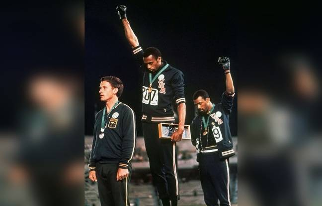 Tommie Smith et John Carlos aux JO de 1968, à Mexico City.