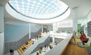 """Le projet Lilliad, nouveau """"Learning Center"""" sur le site de la bibliothèque de l'unversité de Lille-I."""