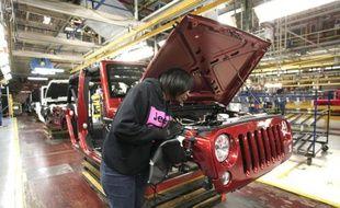 Une chaîne de montage de la Jeep Wrangler, le 7 mai 2014 au site de Toledo du constructeur Fiat Chrysler