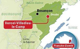 Carte de localisation de Vercel-Villedieu-le-Camp, dans le Doubs.