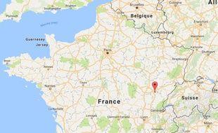 Localisation du séisme du 3 décembre 2016, près de Dole (Jura)