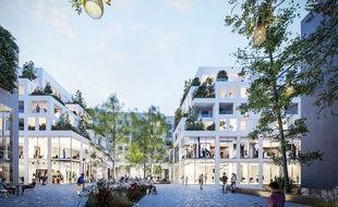 Image synthèse de la future place publique du projet Biloba Plaza.