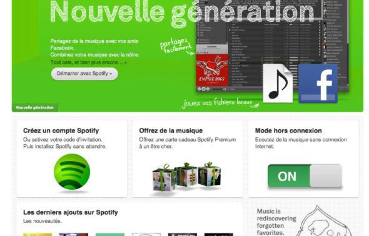 La page d'accueil du site d'écoute musicale Spotify – DR