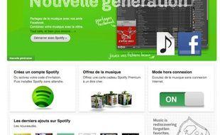 La page d'accueil du site d'écoute musicale Spotify