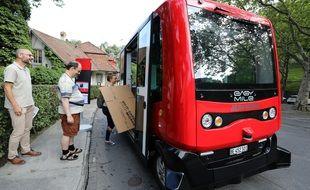 Une navette autonome à Berne (Suisse), à l'été 2019.