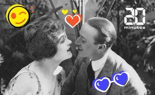 Illustration d'un couple avant un baiser