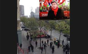 Dans le cadre à droite, le cadrage de TF1pour son interview en direct avec Jean-Luc Mélenchon le 1er décembre.En fond, la photo de la même scène prise au même moment d'un balcon par le journaliste Stefan de Vries.