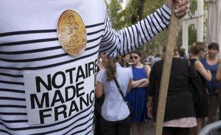 Des notaires dans la rue à Marseille le 17 septembre 2014 protestent contre le projet de réforme des professions réglementées
