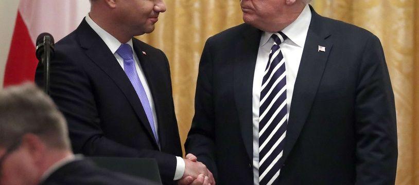 Le président polonais Andrzej Duda et Donald Trump à la Maison Blanche, le 18 septembre 2018.