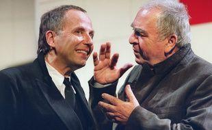 Les comédiens Fabrice Luchini (G) et Claude Evrard répètent une scène de la pièce