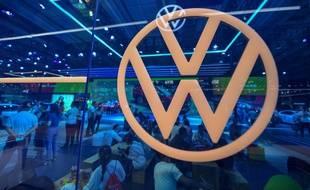 La marque Volkswagen au salon international de l'automobile à Changchun en Chine, le 10 juillet 2020.