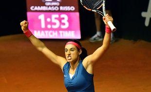La Française Caroline Garcia après sa victoire en Fed Cup sur l'Italie, le 8 février 2015