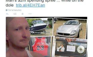 Capture d'écran Twitter montrant Luke Brett Moore avec une partie des achats effectués avec les 2 millions de dollars australiens que sa banque l'a autorisé par erreur à retirer.