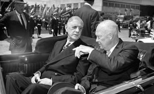 Le président français De Gaulle et le président américain Dwight D. Eisenhower, en 1960 à Washington.