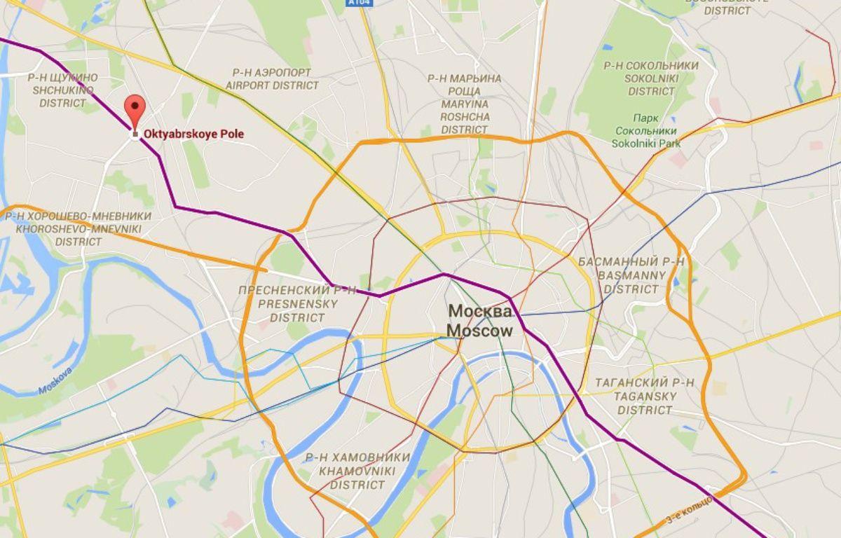 Localisation de la station de métro Oktyabrskoye Pole où a été arrêtée une femme brandissant la tête d'une enfant décapitée. – Capture d'écran