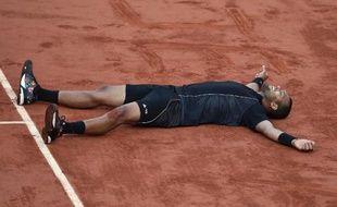 Jo-Wilfried Tsonga après sa qualification pour les demi-finales de Roland-Garros, le 2 juin 2015 à Paris
