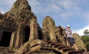 Le temple Bayon dans le parc national d'Angkor au Cambodge le 17 juin 2011