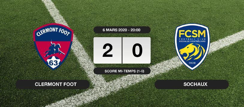 Ligue 2, 28ème journée: Clermont Foot s'impose à domicile 2-0 contre Sochaux