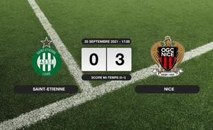 Résultats Ligue 1: L'OGC Nice s'impose à l'extérieur 0-3 contre l'ASSE