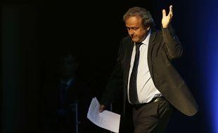 Michel Platini a lu un discours lors de l'élection du nouveau président de l'UEFA, le 14 septembre 2016 à Athènes.