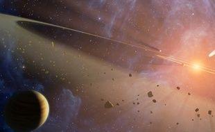 Vue d'artiste de la ceinture d'astéroïdes d'un système solaire voisin.