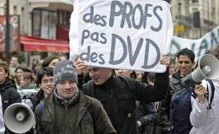 Manifestation contre les réformes dans l'enseignement supérieur à Paris le 10 février 2009.