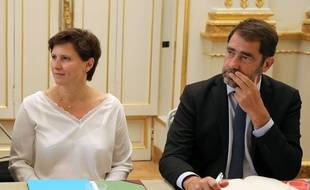 Roxana Maracineanu, nouvelle ministre des Sports, et Christophe Castaner, le 5 septembre 2018 à l'Elysée.
