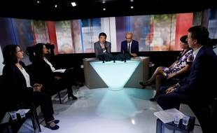 Les quatre candidats d'EELV lors du premier débat le 27 septembre 2016.