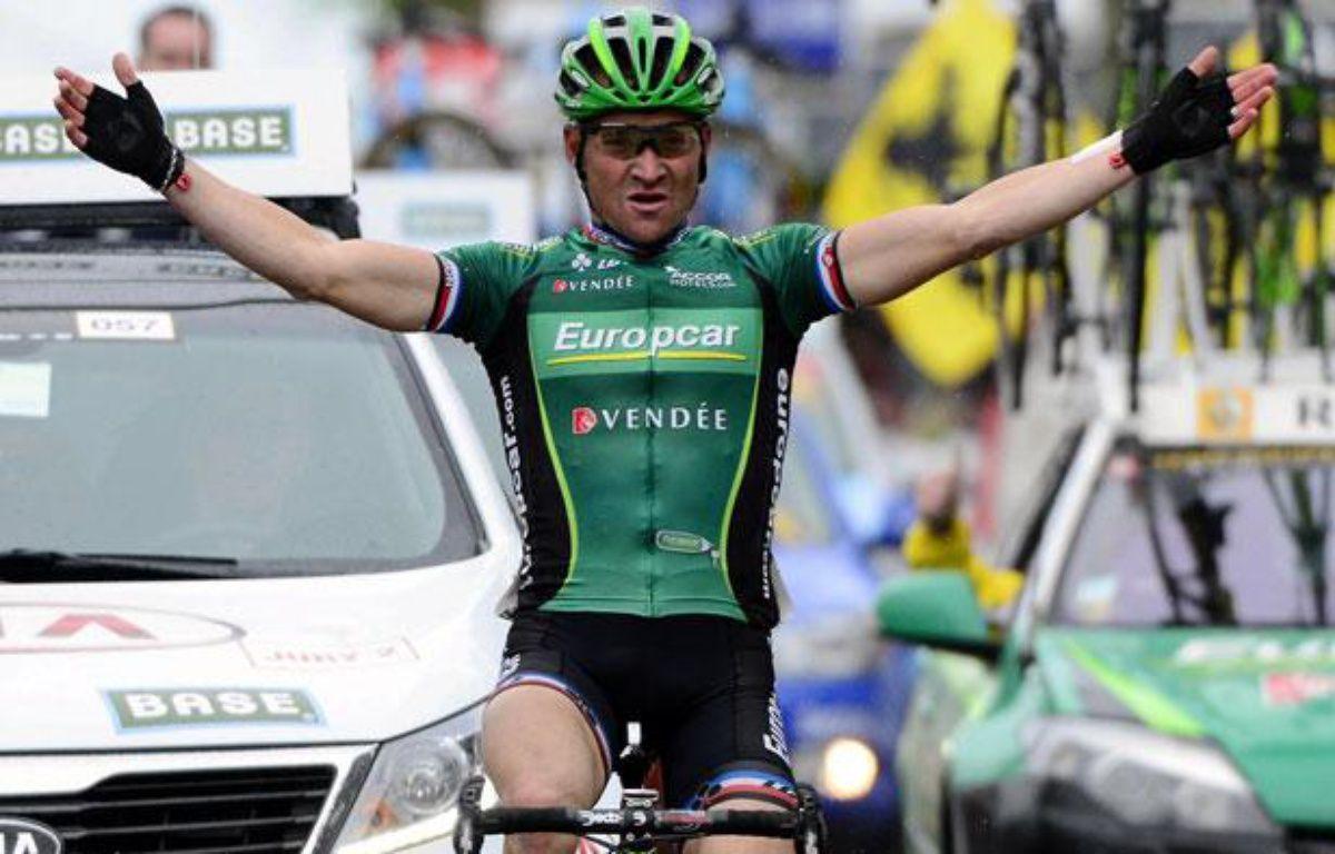 Le Français Thomas Voeckler (Europcar), le 11 avril 2012, en Belgique. – AFP PHOTO/ BELGA/ ERIC LALMAND