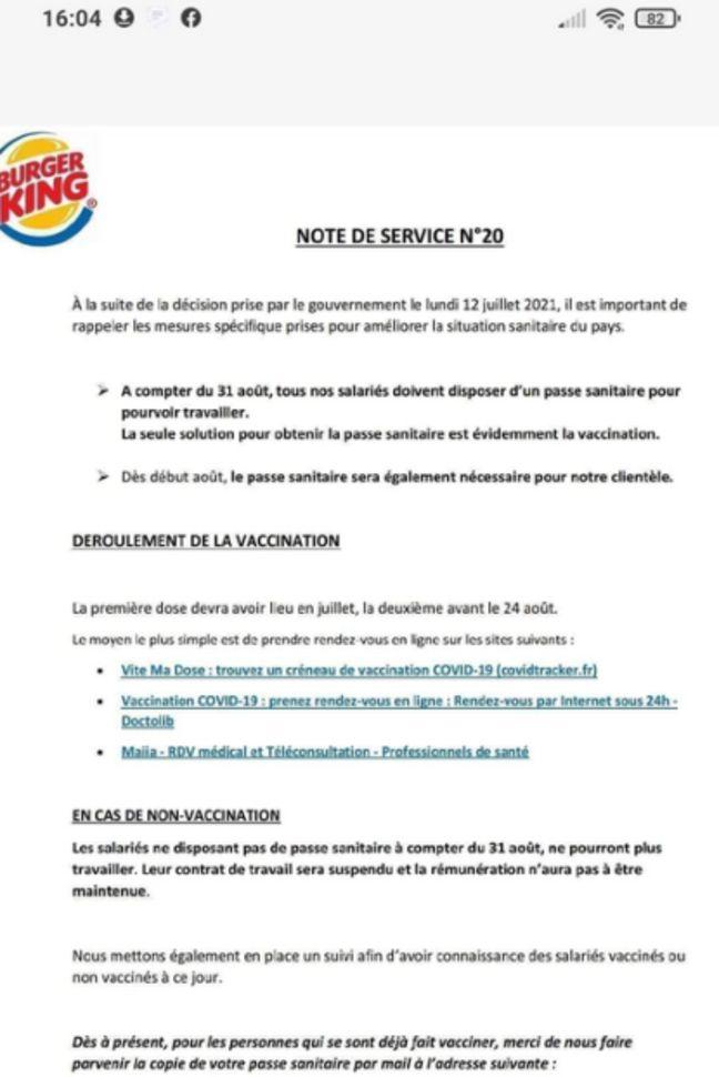 Cette note de service a déclenché un appel au boycott de Burger King sur les réseaux sociaux