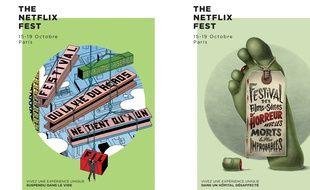 Deux affiches du «Netflix Fest», qui se tiendra du 15 au 19 octobre 2015 à Paris.