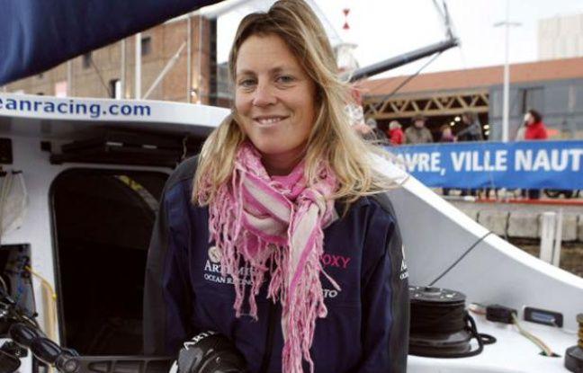 La navigatrice Samantha Davies, le 7 novembre 2009 au Havre.