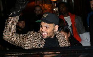 Le chanteur Chris Brown à Paris.