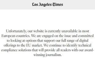 Capture écran du site du «Los Angeles Times», inaccessible depuis la mise en place du RGPD