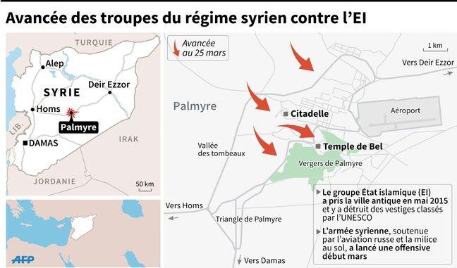 Carte localisant l'avancée des troupes du régime syrien à Palmyre le 25 mars.