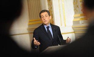 Nicolas Sarkozy à l'Elysée, à Paris, le 27 janvier 2012.