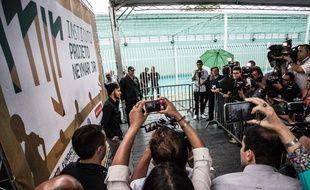 Neymar lors de l'inauguration de son institut pour les enfants défavorisés, dans l'Etat de Sao Paulo, le 23 décembre 2014.