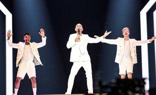 Sehrat, le représentant de Saint-Marin à l'Eurovision 2019 lors de sa première répétition sur la scène, le 5 mai 2019.