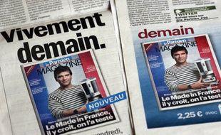 Arnaud Montebourg, alors ministre du Redressement productif, portant une marinière Made in France, en couverture du Parisien magazine le 18 octobre 2012