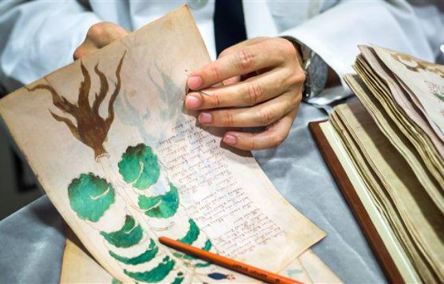Une page du mystérieux manuscrit Voynich en passe d'être clonée pour être décodée.
