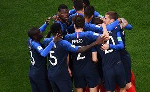 La joie des Bleus après le but de Mbappé lors de France-Pérou, le 21 juin 2018.
