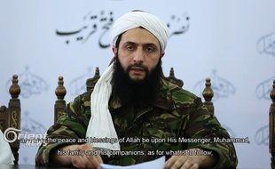 Le chef du Front Al-Nosra, Abou Mohammad al-Jolani, dans une vidéo où il annonce sa rupture avec Al-Qaida.
