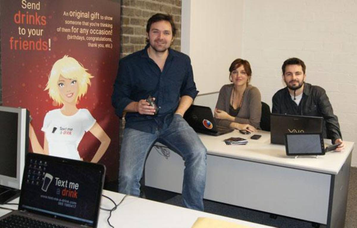 Text Me A Drink, une start-up web basée à Dublin lancée en 2012. – DR