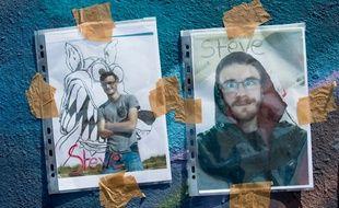 Des photos de Steve Canico sont affichées sur le lieu de sa disparition