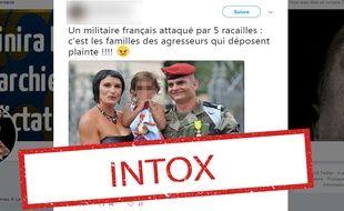 Ce soldat français, qui pose en compagnie de son épouse et de sa fille, n'a pas été «attaqué par cinq racailles».