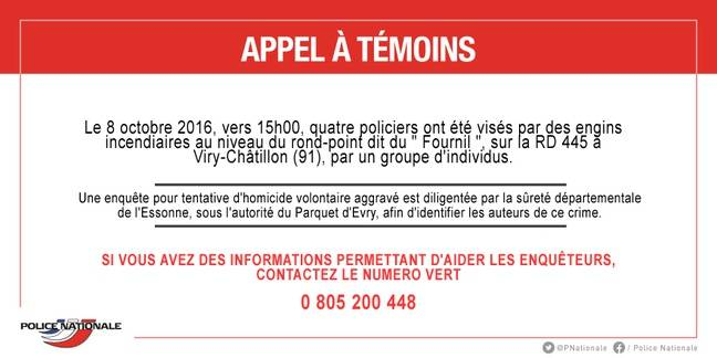 L'appel à témoins après l'attaque de Viry-Châtillon.