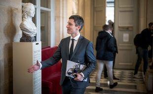 Bruno Studer, dans la salle des quatre colonnes, juste avant la séance hebdomadaire des questions au gouvernement, le 28 janvier 2019, au Palais Bourbon.