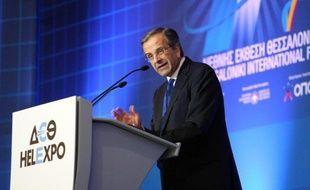 Le Premier ministre grec Antonis Samaras s'exprime lors d'une foire internationale à Salonique le 6 septembre 2014